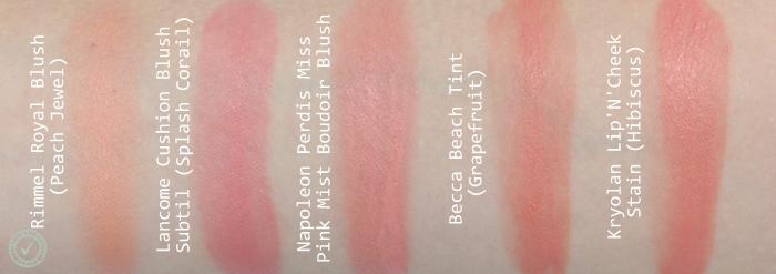cream blush swatches